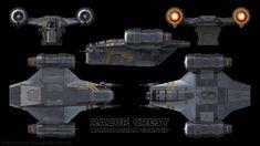 Razor Crest Gunship - The Mandalorian by Ravendeviant on DeviantArt Nave Star Wars, Star Wars Rpg, Star Wars Ships, Star Trek, Spaceship Design, Spaceship Concept, Spaceship Art, Aliens, Mandalorian Ships