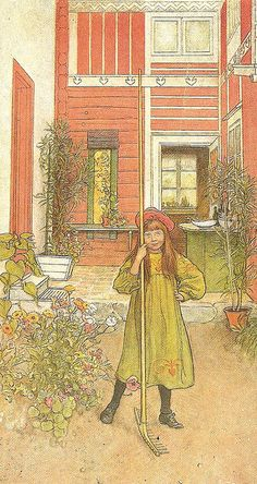 Carl Larsson The surface the image has a texture that is used likely with a light wash to create small hatched areas. Carl Larsson, Swedish Decor, Swedish Style, Elsa Beskow, Alphonse Mucha, Illustrations, Illustration Art, Carl Spitzweg, Nordic Art
