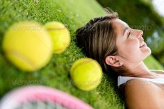 Thoughtful tennis player ...  adult, athlete, athletic, balls, body, bodycare, court, daydreaming, exercise, exhausted, female, fit, fitness, floor, game, girl, happy, healthy, hispanic, latin, latinamerican, lawn, lifestyle, lying, outdoors, pensive, people, person, play, player, portrait, racket, relaxing, smile, smiling, sport, sportive, sportswear, tennis, thoughtful, woman, young