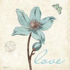 Amanti Art 'Touch of Blue IV Love' by Katie Pertiet Framed Art Print Flower Painting Canvas, Flower Canvas, Canvas Artwork, Painting Prints, Flower Frame, Spray Painting, Framed Wall Art, Framed Art Prints, Fine Art Prints
