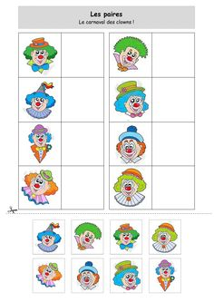 Les paires : le carnaval des clowns Plus Clown Crafts, Circus Crafts, Circus Clown, Circus Theme, Theme Carnaval, Visual Perception Activities, Art For Kids, Crafts For Kids, Es Der Clown