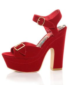 GORGEOUS! Fahrenheit Yes 03 Red Velvet Buckled Platform Peep Toe Heels $31.00