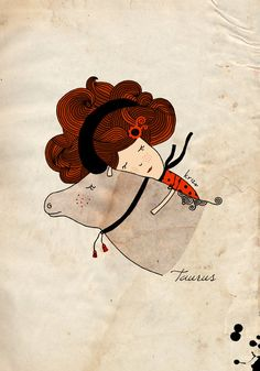 taurus illustration print astrological sign zodiac by krize