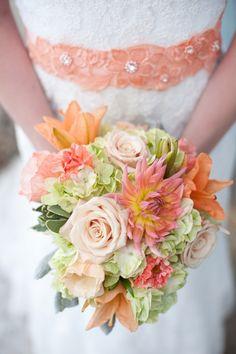 Simple Handmade Wedding Inspiration. Peach roses and orange lilies. Beautiful flowers.
