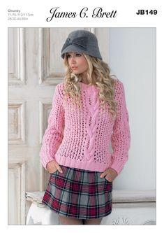Ladies' Sweater in James C. Brett Chunky with Merino - JB149