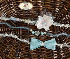 Set of 3 open end tie back yarn halo headbands embellished with flower, tulle, fabric, rhinestones beads. Newborn girls photography prop. by AndreasPropBoutique