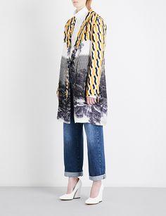 DRIES VAN NOTEN Geo-print satin kimono
