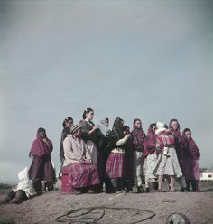 A group of Inuit women and children outdoors, Nunavut, Canada, October 1951. #vintage #Canada #1950s