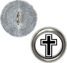 Fancy and Decorative {16mm w/ 1 Back Hole} 4 Pack of Medium Size Round 'Alpha Shank' Sewing and Craft Buttons Made of Genuine Metal w/ Simple Dramatic Religious Symbol Cross Design {Silver, White and Black} *** Check out this great product.