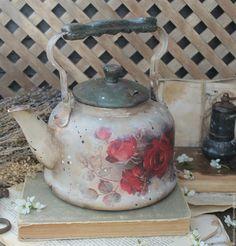 """Купить """"Бархат роз"""" чайник винтажный - бордовый, бордо, розы, роза, лето, сад"""
