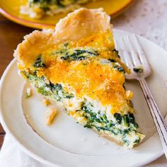 This super cheesy spinach quiche is baked in my favorite homemade pie crust. Impress all your brunch guests with this!