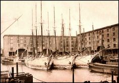A crowded Albert Dock, photographed in The three elegant wooden schooners were built in Nova Scotia in Liverpool Docks, Liverpool History, Picture Places, City Painting, Nova Scotia, Old Photos, Sailing Ships, Past, How To Memorize Things