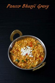 How to make Paneer bhurji gravy recipe with step by step photos – grated or crumbled cottage cheese is simmered in spicy tomato gravy. A paneer curry recipe that go well with paratha or naan. This is Indian restaurant style dish that you will sure love. Bhurji Recipe, Sabzi Recipe, Masala Recipe, Veg Gravy Recipe Indian, Kurma Recipe, Veg Recipes, Indian Food Recipes, Vegetarian Recipes, Recipies