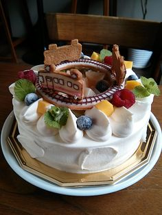Peach shortcake, Train birthday φ15cm