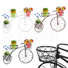 3 Color 3 Tier Metal Bicycle Pot Plant Stand Decor High Wheeled Flower Stand | eBay