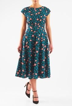 I <3 this Floral print pleated empire crepe dress from eShakti