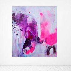 """""""Hello Pink"""" Abstract painting by artist Mette Lindberg. www.mettesmaleri.dk"""