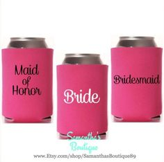 Custom Wedding Koozie - Bridal Party With Names by SamanthasBoutique89 on Etsy