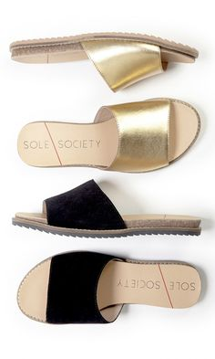 Gold & black slip-on banded sandals with a comfortable cork foot bed