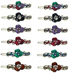 Dozen Pack of 12 Crystal Flower Barrettes P86175-1-0140-D -- Check this awesome product by going to the link at the image.