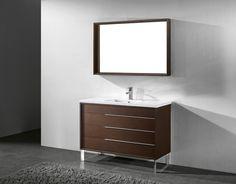 Milano 48 inch Modern Walnut Bathroom Vanities