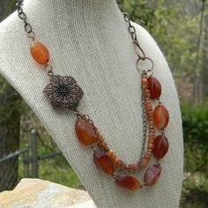 Beaded necklace handmade beaded jewelry by SongbirdCabinDesigns, $38.00