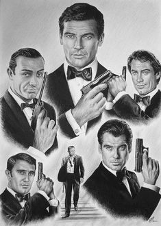 Licenced To Kill Drawing by Andrew Read ~ James Bond actors Sean Connery ~ Roger Moore ~ Timothy Dalton ~ Pierce Brosnan ~ Daniel Craig ~ George Lazenby