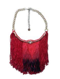 Long fringe necklace, big fringe necklace, ombre fringe, burgundy necklace, vintage rhinestone jewelry, unique boho necklace, tassel jewelry