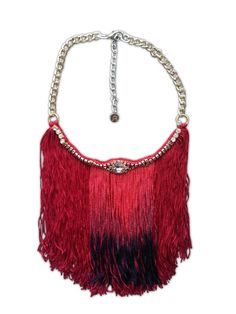 #necklace #bohemian #red #unique https://www.etsy.com/shop/JewelryLanChe Long fringe necklace big fringe necklace ombre by JewelryLanChe