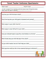 Classroom Freebies: Parent Teacher Conference Questionaire