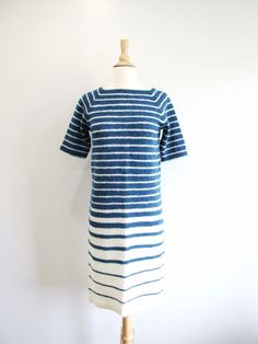 1980s Sweater Dress Vintage 80s Ombre Stripe Dress by RedsThreadsVintage, $35.00