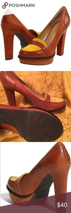 """BRAND NEW: Nine West 'Unmixed' Pump! A twist of color brightens a ladylike loafer lifted by a blocky heel and platform. Approx. heel height: 4 1/4"""" with 1"""" platform (comparable to a 3 1/4"""" heel). Leather and suede upper/polyurethane lining/rubber sole. As always, I will accept reasonable offers :) Nine West Shoes Platforms"""