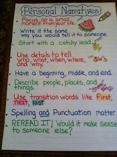 Personal Narrative Anchor Chart by (teaching narrative writing writer workshop) Narrative Anchor Chart, Personal Narrative Writing, Writing Anchor Charts, Personal Narratives, Informational Writing, Narrative Essay, Memoir Writing, Sentence Writing, Opinion Writing