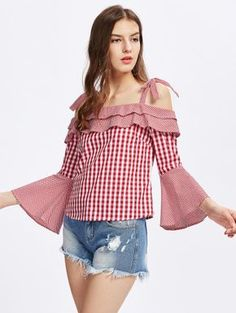 Shop Self Tie Trumpet Sleeve Mixed Gingham Top online. SheIn offers Self Tie Trumpet Sleeve Mixed Gingham Top & more to fit your fashionable needs. Look Fashion, Korean Fashion, Girl Fashion, Fashion Outfits, Womens Fashion, Nice Dresses, Casual Dresses, Casual Outfits, Blouse Styles