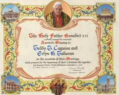 Catholic Marriage Certificate Template New Catholics Can A Papal Wedding Blessing From the Holy Marriage Certificate, Certificate Design, Certificate Templates, Catholic Marriage, Catholic News, Wedding Blessing, Wedding Day, Wedding Stuff, Dream Wedding