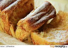 Trhací buchta se skořicí-Suroviny:  Na kynuté těsto:  300 g hladké mouky 5 g sušeného droždí 2 vejce 80 ml mléka 40 g moučkového cukru 60 g másla (rozpuštěného zchladlého) 40 ml vody (v původním receptu bylo 60 ml, přilévat raději opatrně, aby těsto nebylo moc řídké) špetka soli  Na pomazání:  máslo (rozpuštěné) cukr krupice (nebo třtinový) skořice  (mohou se použít i ořechy, mák ...)