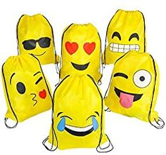 [Party Favors] Emoji Drawstring Backpack Bags by NALAKUVARA, 6 Pack Cute Assorted Emoticon Party Favors Supplies Stuff for Kids Teens Girls Boys Gift, Inch -- Be sure to check out this awesome product. (This is an affiliate link) Emoji Backpack, Backpack Bags, Drawstring Backpack, Party Favor Bags, Goodie Bags, Emoji Party Supplies, Party Emoji, Cool Emoji, Ideas Party