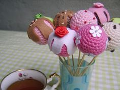 Crocheted Cake Pops - Free Crochet Pattern and Tutorial
