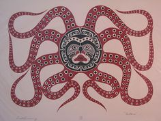 Octopus by MARK HENDERSON vintage Pacific Northwest Coast Serigraph Art Print