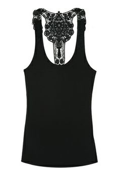 black lace accented tank