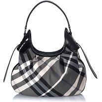 Burberry Check Print Hobo Handbag