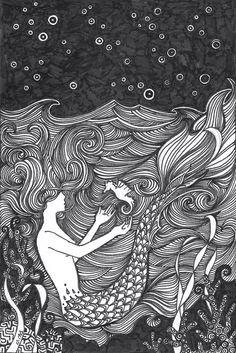 Mermaid and seahorse illustration Real Mermaids, Mermaids And Mermen, Fantasy Mermaids, Doodle Drawing, Doodle Art, Mythical Creatures, Sea Creatures, Mermaid Art, Mermaid Paintings