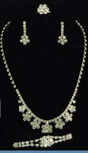 GREAT VALUE- 4 PC Set - Rhinestone Necklace, Earrings, Bracelet & Adjustable Ring $20 @ www.whimzaccessories.com