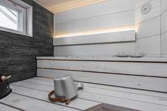 Kauniita pintamateriaaleja saunassa Spa Rooms, Basin, Stairs, Shower, Architecture, Bathrooms, Sweet, Home Decor, Ideas