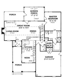 First Floor Plan of Country   Farmhouse  House Plan 68170--This might be the one!!