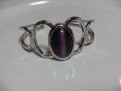 Purple Cats Eye cuff bracelet, silver tone retro bracelet, hipster Southwestern costume jewelry, gift for her, purple, Gingerslittlegems