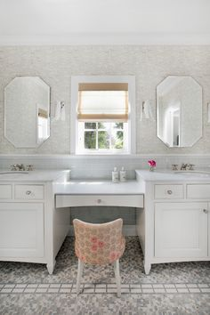 white marble top vanity with white wooden cabinet under, two white sinks and make up counter in the middle with flowery chairs' of Beautiful Vanity with Makeup Counter for Ladies