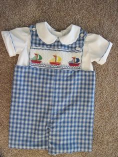Cute boy's short romper set, with shirt and hand smocked detail