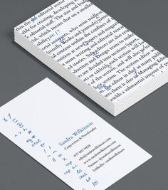 Get some inspiration from these unique business cards for a copywriter. Order yours at 4OVER4.COM!