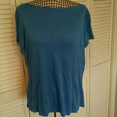 Beautiful blue boat neck tee Super soft supima and modal mix boatneck tee from Talbot's. Dress up or down. I'm not crazy about the neckline on me but maybe it will work for you! Talbots Tops Tees - Short Sleeve
